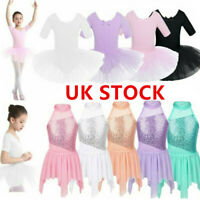 UK Kid Girl Lyrical Modern Ballet Dance Leotard Dress Ballerinas Stage Dancewear