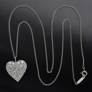 Tiffany & Co Platinum Chain with 14K Gold 0.92TCW Diamond Heart Pendant 5.3G F/G