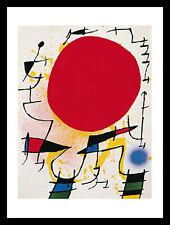 Joan Miro Le soleil rouge Poster Kunstdruck mit Alu Rahmen in schwarz 50x40cm