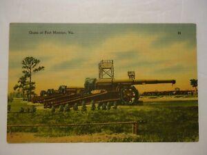 Vintage Postcard Hampton, VA. Fort Monroe Guns