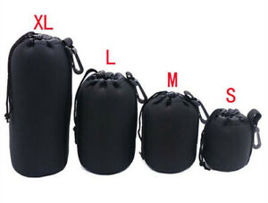 Small Neoprene Camera Lens Drawstring Bag Pouch Waterproof Protector - UK STOCK
