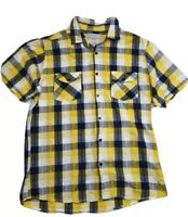 Men's Cedarwood State Short Sleeve Check Yellow/Blue Shirt Size L