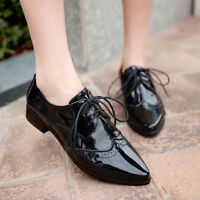 Womens Flats Patent Leather Wingtip Lace Up Low Heels Oxfords Pointed Toe Shoes