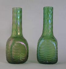 Paire de autrichien Bohème Loetz style vert irisé verre vases c1900