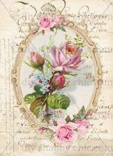 Furniture Decal Image Transfer Vintage Antique French Upcycle Rose Flower Frame