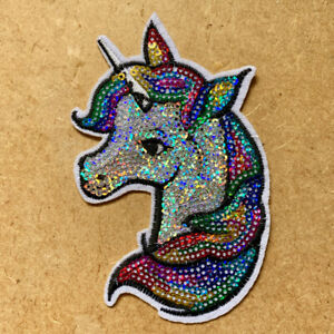 1pc Unicorn Sequin Embroidered Patch Cloth Iron On Applique craft sewing #1748