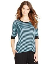 DKNY SHIRT TOP BLOUSE 3/4 SLEEVES STRIPED WOMEN'S SIZE M NWT $49.00!