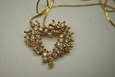VINTAGE GOLD PLATE CRYSTAL RHINESTONE PAVE SET  HEART PENDANT CHAIN NECKLACE