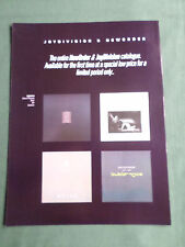 NEW ORDER & JOY DIVISION  - MAGAZINE CLIPPING / CUTTING - 1 PAGE ADVERT
