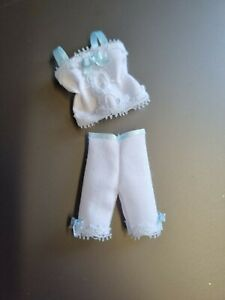 Dolls House clothes - victorian style underwear set - white/blue - miniatures