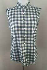 J.Crew Black White Buffalo Check Button Front Top 2 Style 28642 Sleeveless