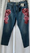 Topshop MOTO MOM High Waisted Peony Floral Jeans W32 L30, 10