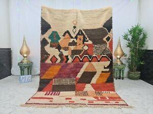 """Moroccan Handmade Boujaad Rug 5'2""""x7'6"""" Patchwork Berber Brown Orange Wool Rug"""