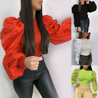 Fashion Womens Long Frill Puff Sleeve Solid  Blouse Shirt Sweater Tops T Shirt