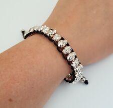 COSTUME JEWELLERY Shamballa Style Skull Beaded Black Cord Adjustable Bracelet