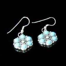 .925 Sterling Silver Natural Turquoise French HOOK Earrings
