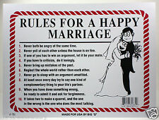 "RULES FOR A HAPPY MARRIAGE 9""X12"" PLASTIC SIGN NEWLYWED GIFT HUSBAND & WIFE"