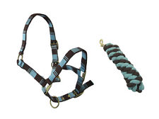 HORSE ( COB) LIGHT BLUE AND BROWN HEAD COLLAR & MATCHING LEAD ROPE SET