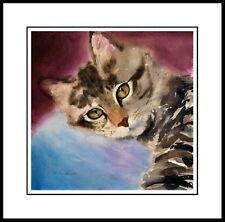 LOVE EYES - TABBY CAT ART FRAMED OPEN ED. MINI PRINT DREW STROUBLE CATMANDREW