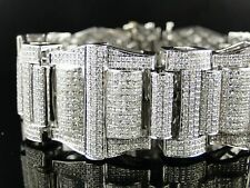 Mens Xxl White Gold Princess Cut Diamond Bracelet 30 Ct