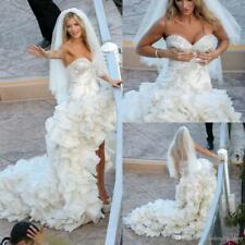 Luxus Herzenform High Low Brautkleider Tiered Rüschen Ärmellos Hochzeitskleider