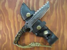 "HANDMADE 8.1"" DAMASCUS TRACKER KNIFE FULL TANG Ram Horn Scales with Paracord"