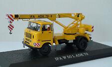 IFA W50 ADK70  1:43 Ixo Atlas diecast German crane truck from DDR era, yellow
