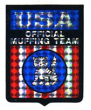 vtg prismatic sticker novelty flag USA official muffing team motorcycle biker