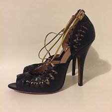 New Azzedine Alaia Strappy Gold & Black Leather Heels 40