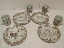 4 WILD HABITAT Luncheon Plates & Mugs Lions Leopards Zebras Giraffes Shafford