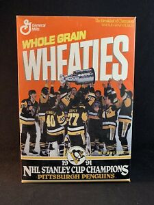 Vintage 1991 Pittsburgh Penguins NHL Stanley Cup Champions Wheaties Box