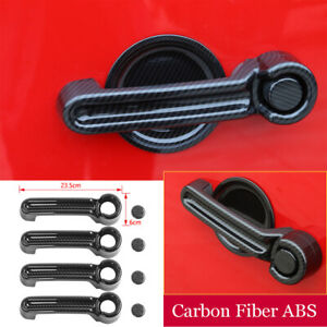Carbon Fiber ABS Side Door Handle Cover Kit For 2007-12 Dodge Nitro Jeep Liberty