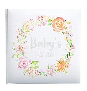 Floral Baby's First Year Memory Book Baby Milestones Photo Album NEW