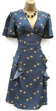 SIZE 12 40'S WW2 LANDGIRL BLITZ VINTAGE STYLE TEA DRESS BLUE FRILLED# US 8 EU 40