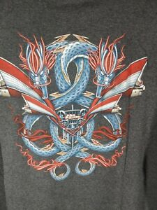 Vintage 90's NO FEAR t-shirt Size Large Charcoal Gray Dragons Skate Cadillac