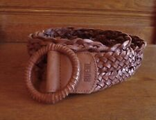 "Ruehl Braided Leather Belt Sz M-L Vintage 42"" Long Waist or Hip"