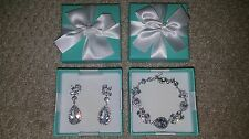 Bridal Jewlery Crystal and Silver Earrings and Matching Bracelet