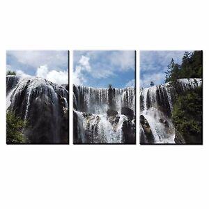 FRAMED HD Canvas Prints Waterfall Photo Wall Art Canvas Oil Painting Print-3pcs