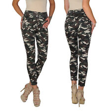 Damen High Waist Camouflage Fleck Tarn Army Military Röhren Jeans Hose E61
