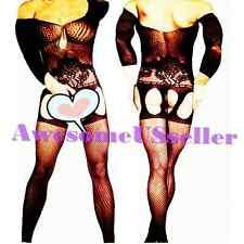 NEW MEN XS-2XL Sexy PLUS SIZE Black CROTCHLESS Bodystocking Suspender Dress#161