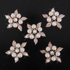 5 Rhinestone Flower Pearl Buttons Flatback Embellishment Craft Wedding 38mm efd57154371d