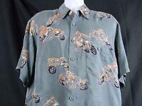 Men's Harley Davidson Shirt Large Tori Richard 100% Grey Silk Motorcycle Design