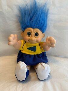"Vintage Russ Troll Cheerleader Doll 12"" Blue Hair"