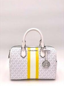 NWT Michael Kors Bedford Small Logo Stripe White Duffel Satchel Bag $328