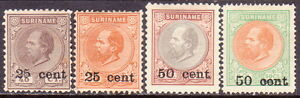 1900 SURINAM Yv 37-40 MNG as issued compl. set surcharges