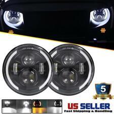 DOT Pair 7 Inch CREE LED Headlights Halo Angle Eye For Jeep Wrangler JK TJ CJ LJ
