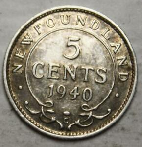Newfoundland 1940 Silver 5 Cents, Old Date KGVI (4f)