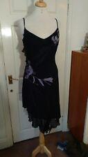 Karen Millen 100% Silk Black Sequin Spaghetti Strap Sheath Dress Size 12 *VGC*