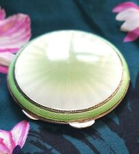 Silver Guilloche green  Enamel Compact  with mirror  1947