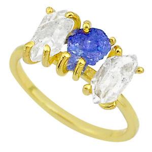 WHOLESALE 6.64cts Natural Tanzanite Raw 14k Gold Handmade Ring Size 8 T14068